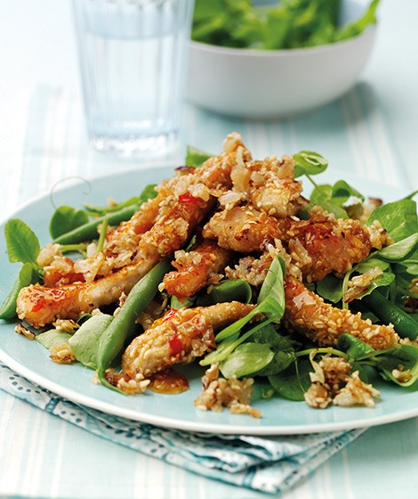 Warm Sweet Chilli Chicken Salad with Onion Oatmeal Recipe