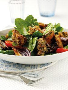 Winter Salad with Warm Pesto Whole Grain Croutons