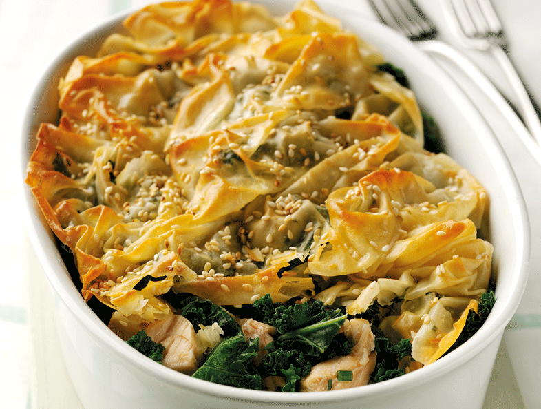 salmon-and-kale-filo-pie